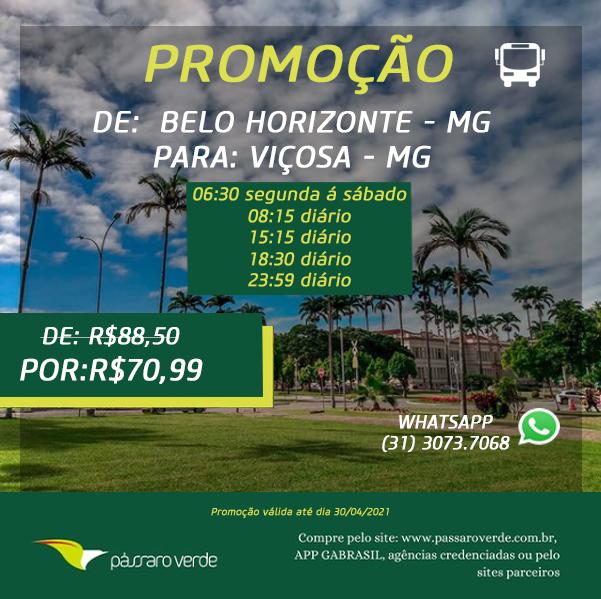 PROMOÇÃO DE BELO HORIZONTE A VIÇOSA VALOR R$ 70,99